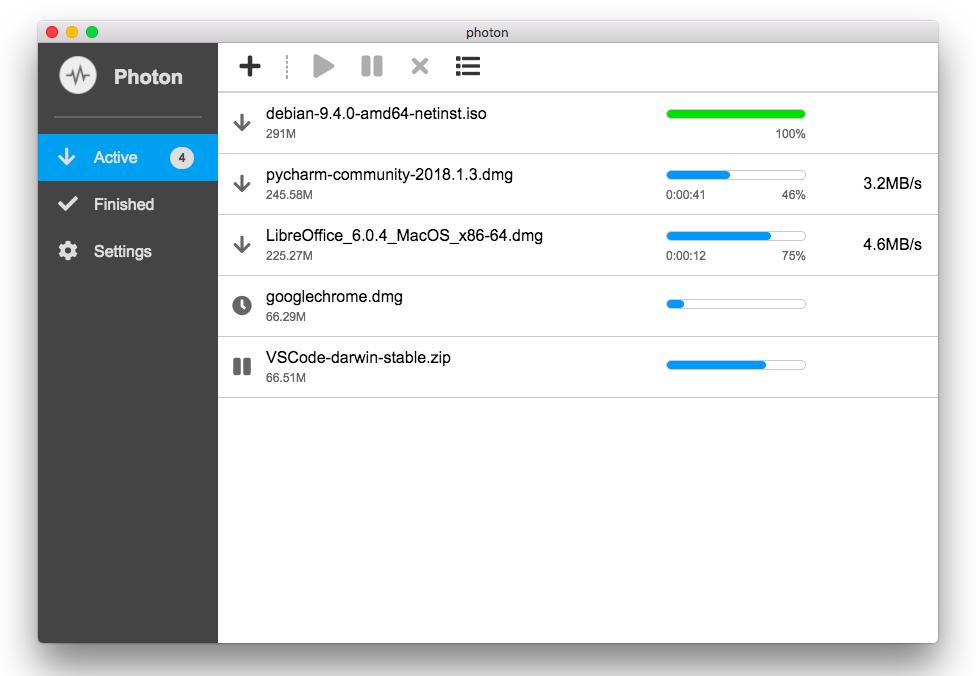 Photon: 免费软件 / 基于 aria2 的多线程图形界面下载工具 / 支持 Win 和 Mac